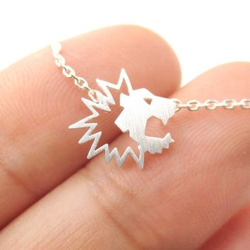 Tiny Lion Face Shaped Animal Cut Out Charm Necklace in Silver | Animal Jewelry