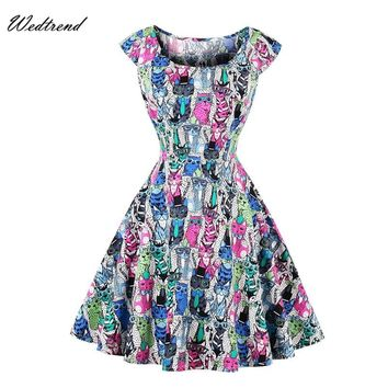 Wedtrend Square Neck Print Animal Knee-Length Women Dresses With Short Sleeves 1950s 1960s Elegant BigSale Ladys Vintage Dresses