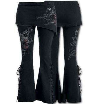 Women 2 in 1 Boot Cut Leggings with Micro Slant Skirt Gothic Punk Lace Up Bell Bottom