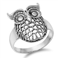 925 Sterling Silver Sacred Geometry Owl Ring 21MM