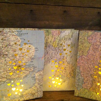 10 Small Map Luminary Bags,Travel Theme Decor, Made to Order, Map Art, Destination Wedding, Travel Themed Party, Bon Voyage