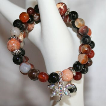 Fire Crab Agate Statement Bracelet, Gemstone Memory Wire Bracelet, Rhinestone AB Dragonfly Charm Bracelet, Orange & Black Agate Jewelry