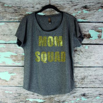 Mom Squad gold glitter Slouchy Women's Shirt