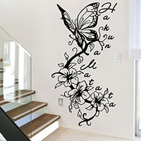 Wall Decal Hakuna Matata Flower Butterfly Vinyl Sticker Decals Nursery Baby Room Home Decor Bedroom Art Design Interior NS785
