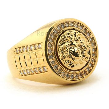 MEN'S ICED OUT HIP HOP LAB DIAMOND MEDUSA BRASS RING SIZE 8-12 BR002G