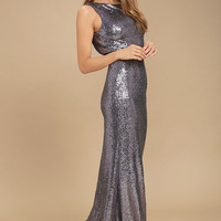 Slink and Wink Dusty Purple Sequin Maxi Dress
