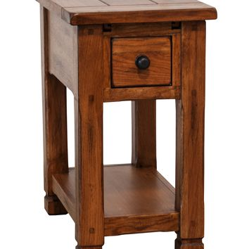 Wooden Chair Side End Table, Oak Brown