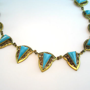 Czech Necklace Egyptian Revival Collar Turquoise Glass Gold Gilt Filigree Signed 1920s Art Deco Jewelry