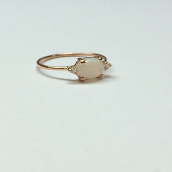 Oval opal ring, three stone ring, opal and diamond ring, 14k gold opal ring