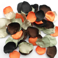 Camo Flower Petals, 100 Handmade Camo Wedding Flower Petals, Decor, Table Scatter, Camo Wedding Decorations, Camouflage, photo prop, orange