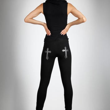 Cross Leggings, Vegan Leather, Black Stretch Cotton Pants, Glam Rock Clothing, Gothic Dance Wear, Minimalist Fashion, by LENA QUIST