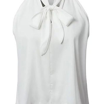 Solid Color Bow-Tie Collar Dip Hem Blouse