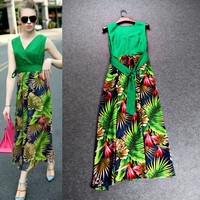 Green V-Neck Wrap Collar Sleeveless Spring Inspired Maxi Dress