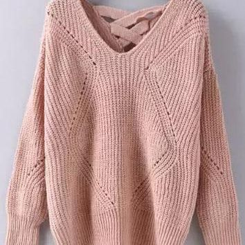 Geometric Pattern Lattice Back Sweater