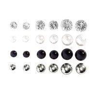 H&M - 12 Pairs Earrings - Silver/Black - Ladies