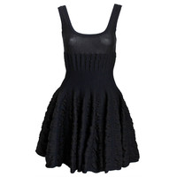 AZZEDINE ALAIA black mini dress with full ruched skirt