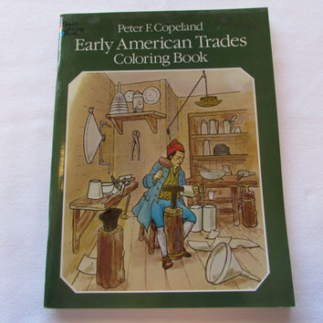Early American Trades Coloring Book Vintage Paperback
