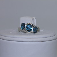 2ctw New Sterling Silver ring sz 6.5 3 Stone London Blue Topaz December births