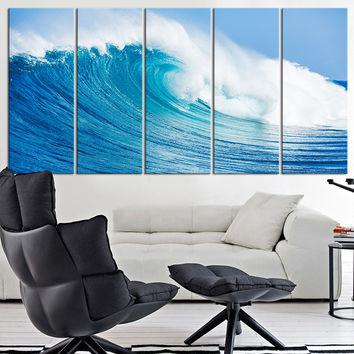 Large Canvas Print Ocean Wave, Wall Art Wave on Ocean Canvas Print, Extra Large Ocean Photo Print on Canvas