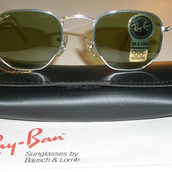 VINTAGE B&L RAY BAN W1840 CLASSIC SILVER METAL WIRE RB3 LENS AVIATOR SUNGLASSES