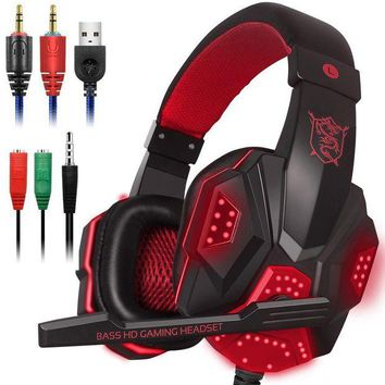 ONETOW Gaming Headset with Mic and LED Light for Laptop Computer, Cellphone, PS4 and son on, DLAND 3.5mm Wired Noise Isolation Gaming Headphones - Volume Control.( Black and Red )