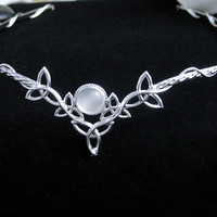 Celtic Wedding Bridal Headpiece Circlet, 8mm Natural White Moonstone, Sterling Silver - SALE