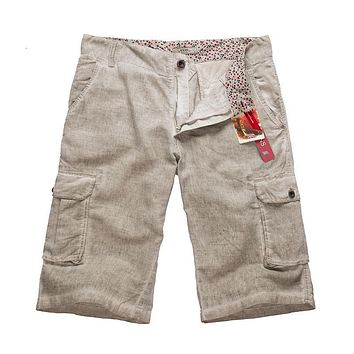 New Summer Mens Casual Loose Vintage Linen Shorts For Men,4 Colors,Size M-XXL,6633,Free Shipping