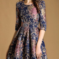 Multicolor Round Neck Half Sleeve Embroidered Dress