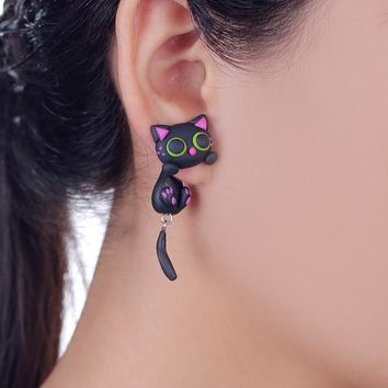Handmade Cat Stud Earring Made Of Polymer Clay