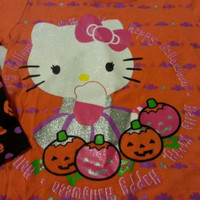 Hallowen Toddlers Girls Tee Shirt Sz 3T Hello Kitty Orange Children
