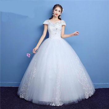 Lace Appliques Pearls O Neck Wedding Dresses Cap Sleeve Ball Gown Bridal Dress