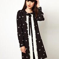 Nishe Shirt Dress With Bow Embroidery and Frill Front