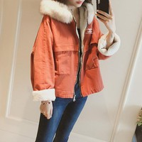 """""""Chanel"""" Women Fashion Thickened Zip Cardigan Long Sleeve Lambswool Fur Collar Hooded Cotton-padded Clothes Short Section Jacket Coat"""