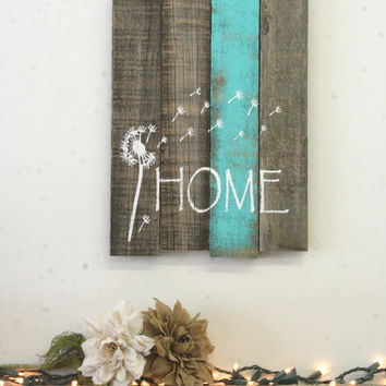 Dandelion Pallet Reclaimed Wood Sign Distressed Wood Wedding Gift Bridal Shower Gift Housewarming Gift Turquoise Home Decor Wood Wall Art