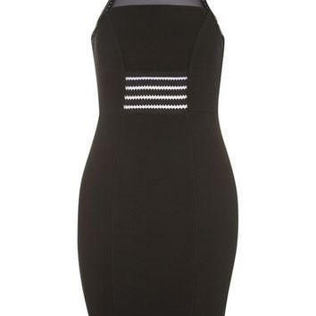 Mesh Insert Textured Bodycon Dress - New In Fashion - New In
