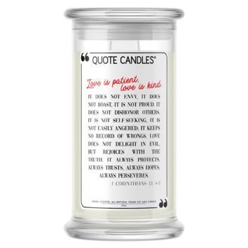 Love is Patient, Love is Kind Quote Candle