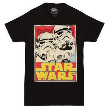 Star Wars Stormtrooper Card Logo Licensed Adult Unisex T-Shirt - Black