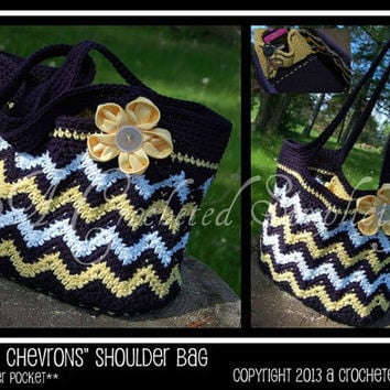 "Crochet Pattern: ""Chasing Chevrons"" Shoulder Bag / Purse, Permission to Sell Finished Items"