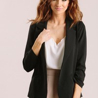 Nellie Black Shirred Blazer