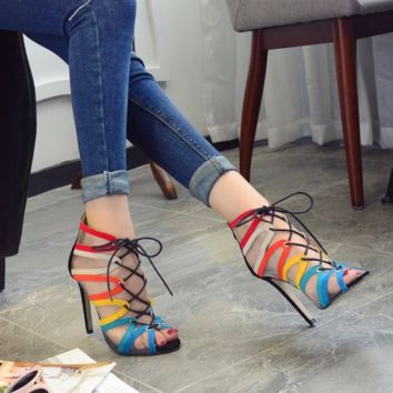Trendy Stylish Mesh Lace Ankle Heels