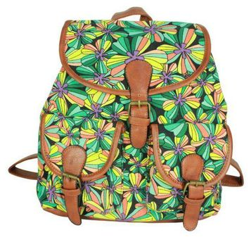 LMFON1O Day First Cute Flower Print School Bag Canvas College Backpack Daypack