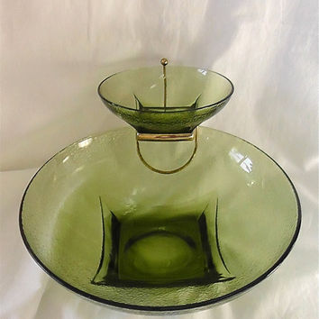 Vintage Glass Chip and Dip Bowl