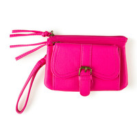Neon Pink Faux Leather Front Pocket Wristlet