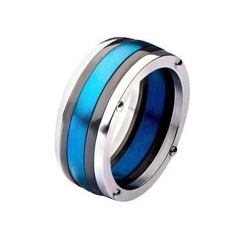 Thin Blue Line - Men's Stainless Steel Black & Blue Plated Ring