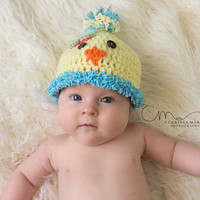 Baby Chick Hat, Easter Hat, Chicken Cap, Hand Crochet Beanie, Easter Photo Prop, Spring Children Wear, Newborn Girl, Infant Boy Toddler Size