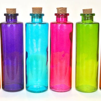 6 Colored Bottles- 8.5 Ounce, 250ML Colorful Bottle with Cork for Oil and Vinegar, DIY Favors, Seasonings, Bath Salt, Reed Diffuser