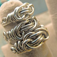 Sterling Silver Infinity Knot Ring Heavy Gauge Wire Wrapped Ring
