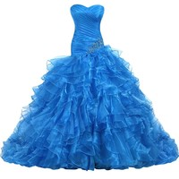 Sunvary 2014 Organza Prom Dresses Ball Gown Quinceanera Dresses Long