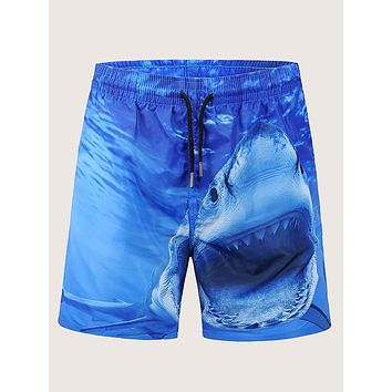 Men Shark Print Drawstring Waist Shorts