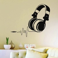 Vinyl Wall Decals DJ Headphones Audio Music Pulse Sign Decal Sticker Home Wall Decor Art Mural Z733